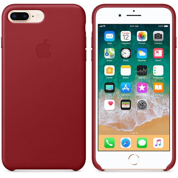 Apple iphone 8 plus 7 leather case (product)red