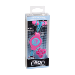 Retrak Neon Sports Pink & Blue Earphones