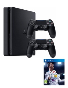 Sony PS4 Slim 1TB Console Jet Black + Dualshock 4 Controller + FIFA 18