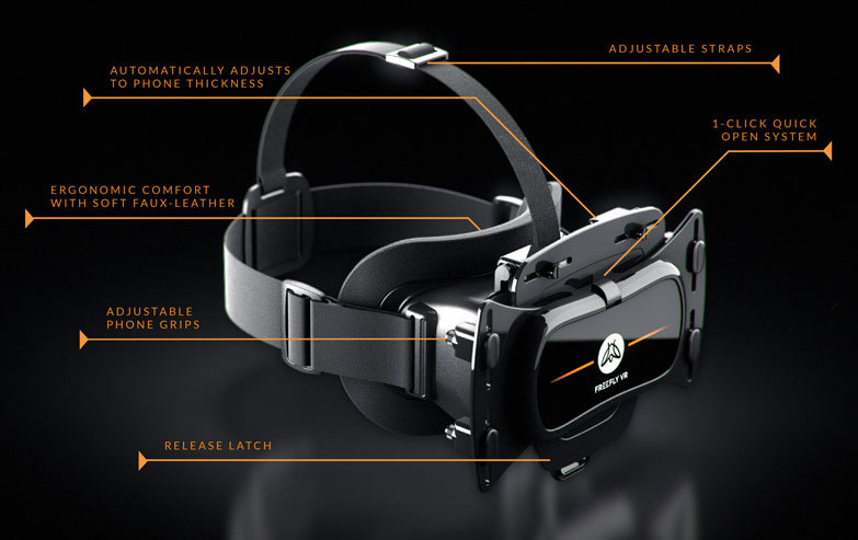 Freefly VR Virtual Reality Smartphone 3D Headset +Glide Wireless Controller