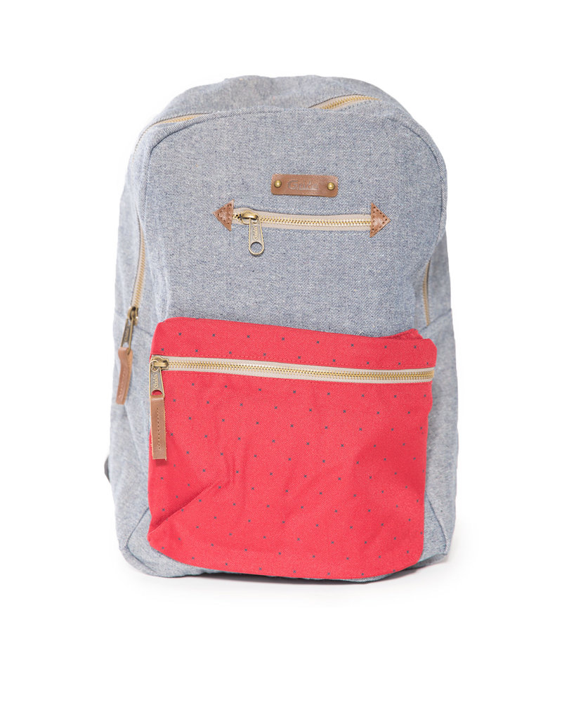 Bag Trotter Blanche Denim/Red Backpack