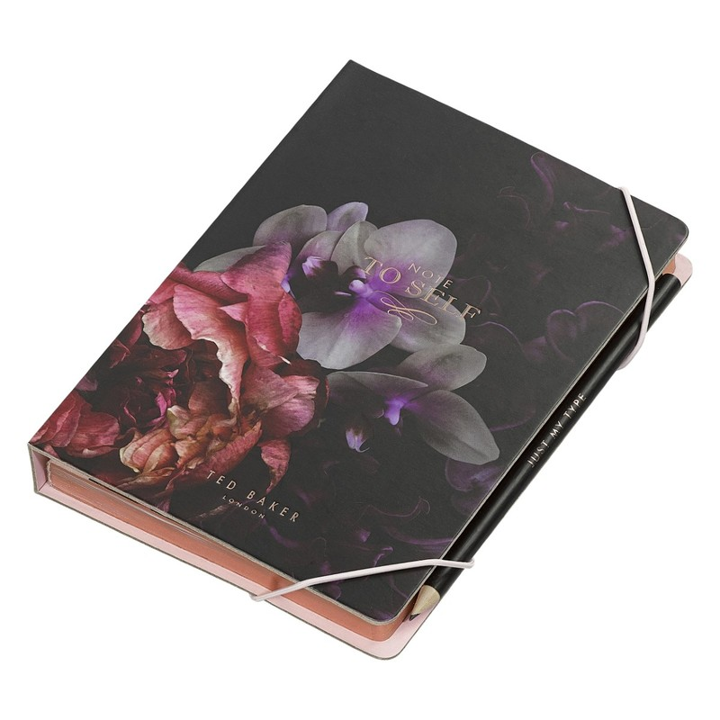 Ted Baker A5 Notebook/Sticky Notes Black Splendour