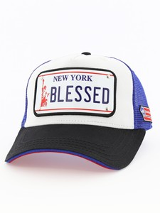 17c32d47d11b5 Raqam New York Plate No Blessed Model 1 Unisex Cap Black Blue Red