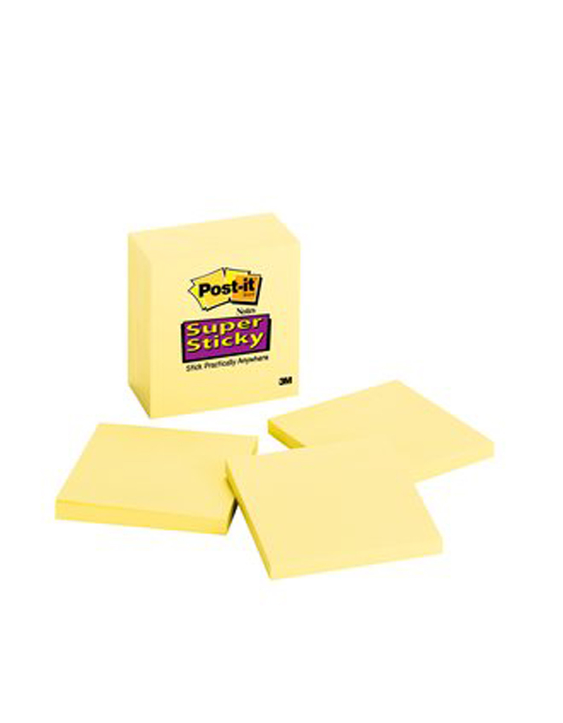 3M Super Sticky Notes Yellow 3 Inx3 In 65 Shts/Pads 6 Pds/Pack
