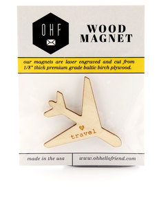Oh Hello Friend Travel Airplane Wood Magnet