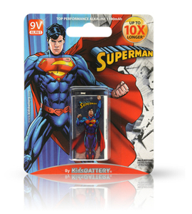 Kids Battery Superman 1X 6LR61/9V Alkaline Batteries