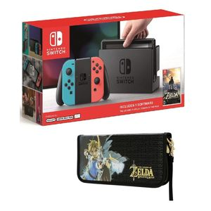 Nintendo Switch 32GB Console with Neon Joy-Con Controller [US] + The Legend of Zelda Breath of The Wild + Case - The Legend of Zelda Breath of The Wild