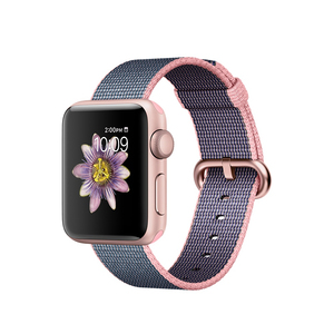 Apple Watch Series 2 Woven Nylon Band Light Pink/Midnight Blue Rose Gold Aluminium Case 38mm