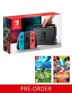 Nintendo Switch with Neon Joy-Con Controller + Legend Of Zelda + 1 2 Switch [Pre-Order]