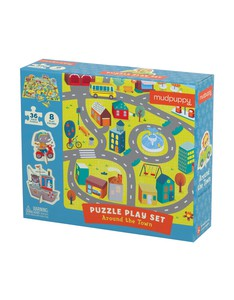 Mudpuppy Around The Town Puzzle Play Set