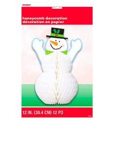 Unique Honeycomb Snowman Christmas Centerpiece [12 Inch]