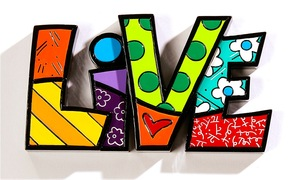 Romero Britto Live Word Decor Figurine
