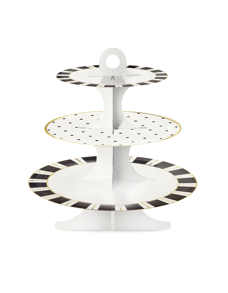 Miss Etoile Paper Cake Stand W/Gold Lining White W/ Stripes & Dots