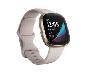 Fitbit Sense Lunar White/Soft Gold Stainless Steel Smart Watch