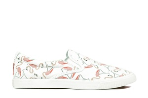 Bucketfeet Flamingos White/Pink Low Top Women's Canvas Slip-Ons