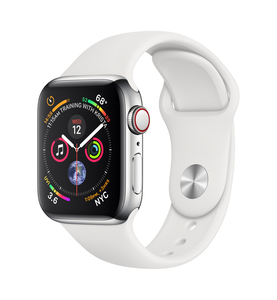 APPLE WATCH SERIES 4 GPS +CELLULAR 40MM STAINLESS STEEL CASE WITH WHITE SPORT BAND