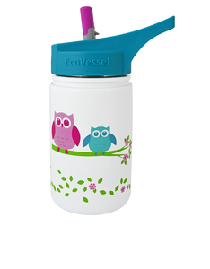 EcoVessel Scout White Owl Kids Water Bottle 400ml