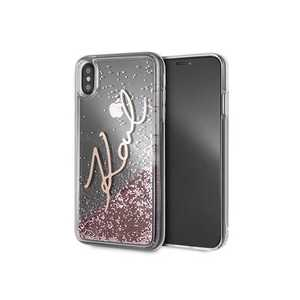 KARL LIQUID GLITTER GOLD CASE PINK FOR IPHONE XS MAX