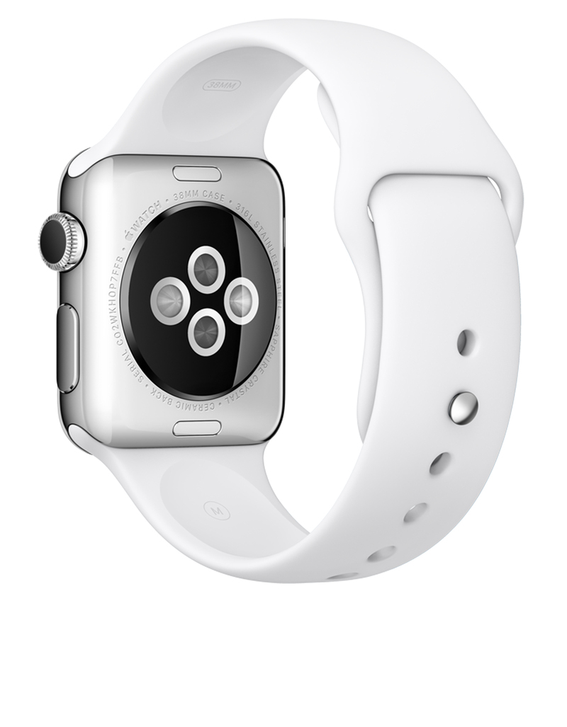 Apple Watch Sport 38mm Stainless Steel Case White Band