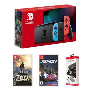 Nintendo Switch Neon Joy-Con + The Legend of Zelda Breath of the Wild + Xenon Racer + Starter Kit