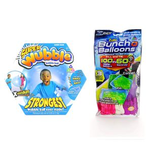Wubble Bubble Blue Super Wubble Ball with Pump + Bbunch O Balloons Rapid Fill 3 Pack
