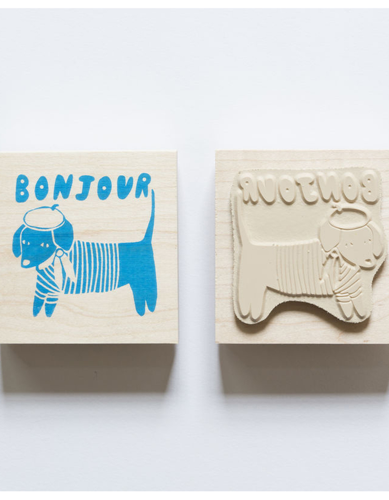 Yellow Owl Workshop Rubber Stamp Bonjour Dog Art