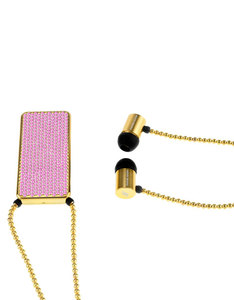 J'Adore Adorn Bare Your Courage Pink Crystals & Gold Beads Rectangular Pendant In-Ear Earphones