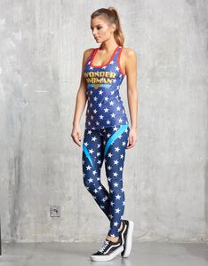 Sugarbird Wonder Woman Blue Band Fitted Fitness Top M