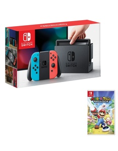Nintendo Switch 32GB Console with Neon Joy-Con Controller + Mario Rabbids Kingdom