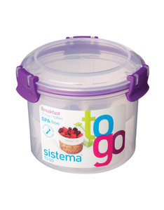 Sistema Klip It Breakfast To Go Coloured Lid Container