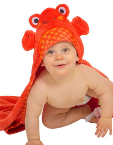 Zoocchini Charlie The Crab Orange Baby Hooded Towel