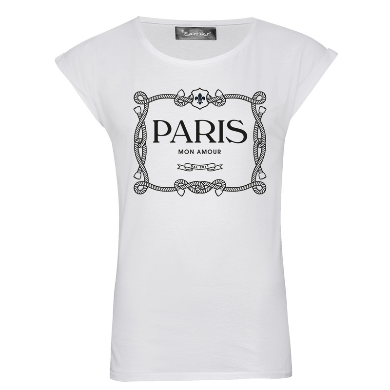Saint Noir Paris Mon Amour Women'S Rolled Sleeves T-Shirt L