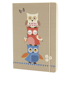 Go Stationery Owls Taupe A5 Notebook