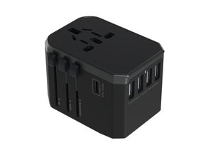 GeoSwiss Universal Travel Adapter HyperCharge 30W USB-C + Dual Port USB-A Black