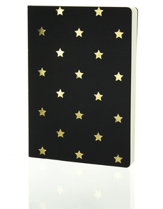 Go Stationery Shimmer A5 Notebook Small Gold Stars Black