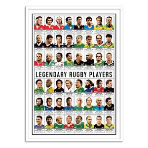 Legendary Rugby Players Art Poster by Olivier Bourdereau [50 x 70 cm]
