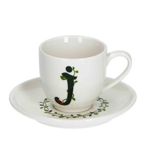 La Procellana Bianca Solotua Coffee Cup with Saucer Letter J 3 oz