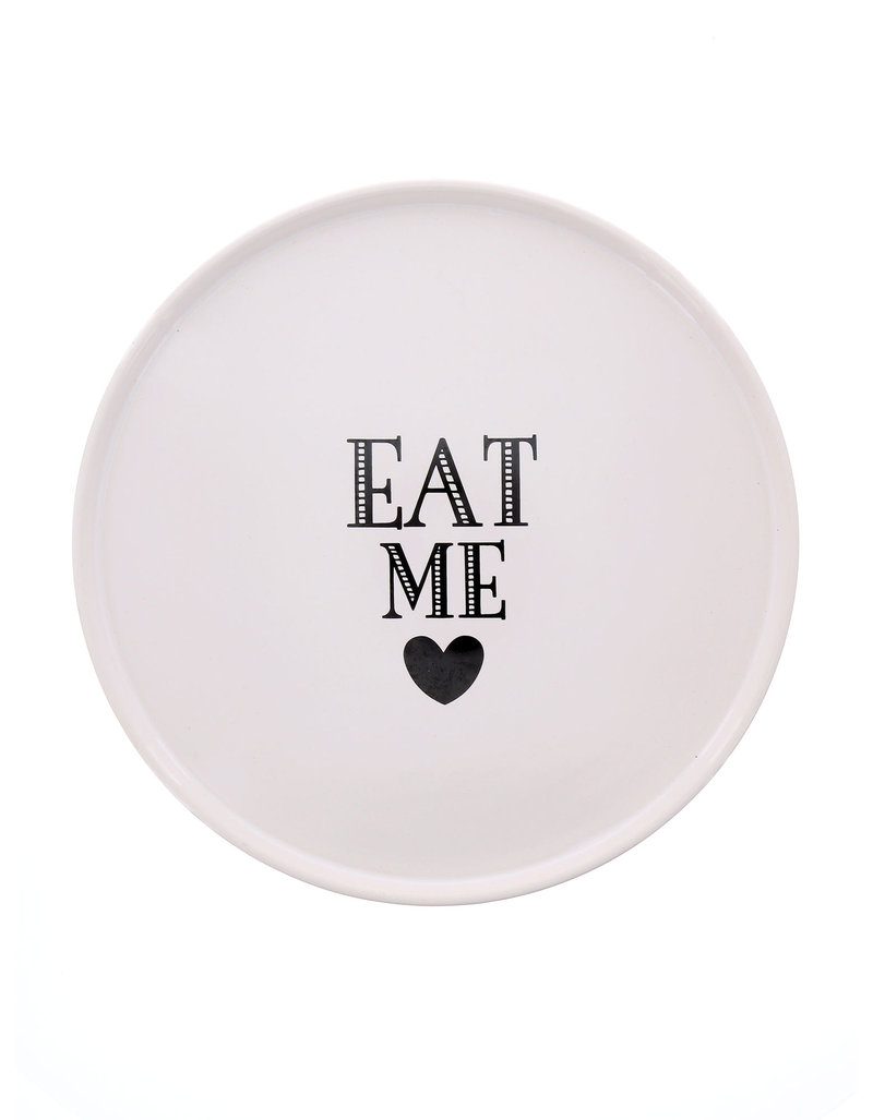 Miss Etoile Eat Me Large White Ceramic Cake Stand