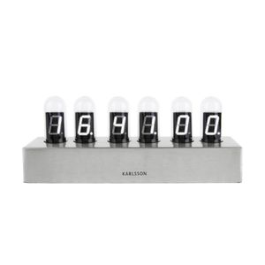 Karlsson Table Clock Cathode Brushed Steel Base/White LED