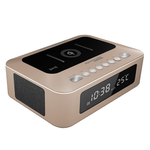 Promate TimeBase-1 Gold Multi-Function Stereo Wireless Speaker And Charging Station