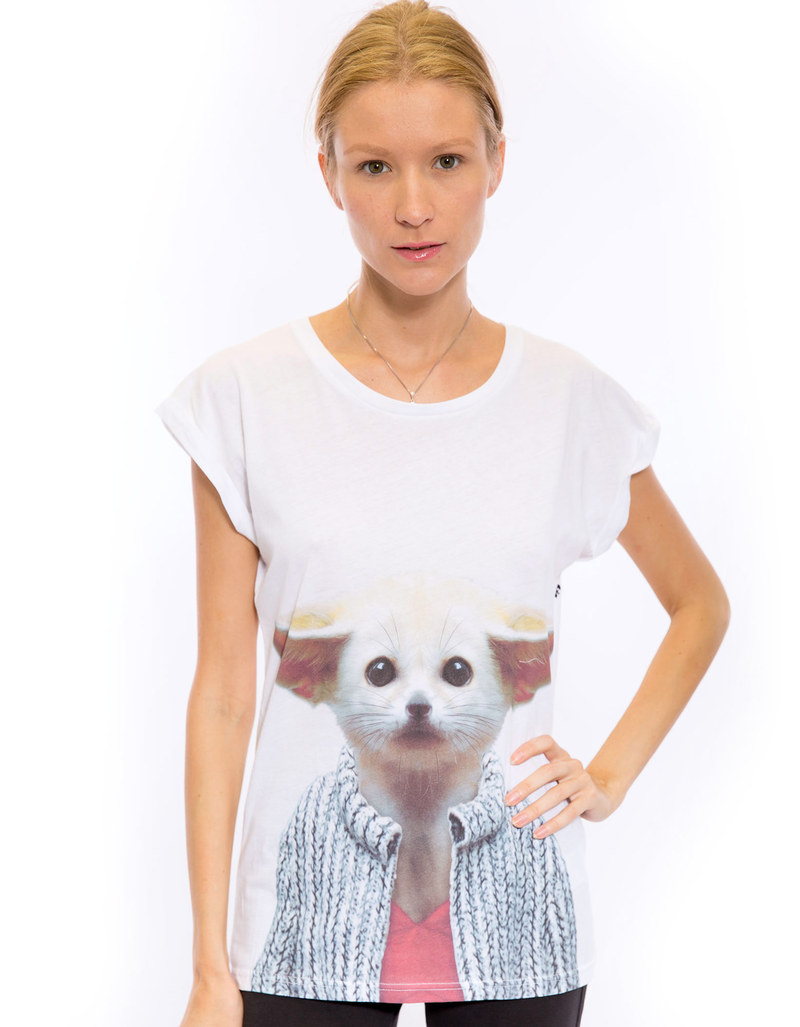 Saint Noir Fennec Fox  Rolled Sleeves Women's T-Shirt