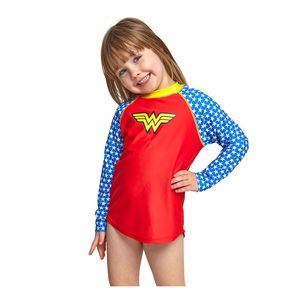 Zoggs Wonderwoman Long Sleeve Sun Top Junior Girls Red/Blue