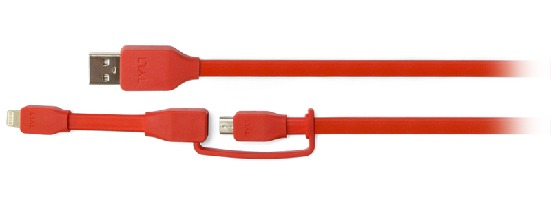 Tylt Sync Cable Duo Charge & Sync Red Cable 1M
