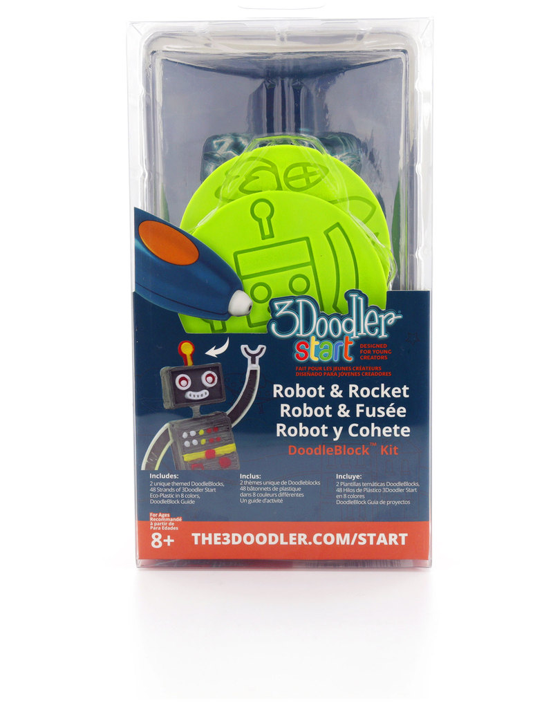 Brand New! 3Doodler 3D Start Robot /& Rocket DoodleBlock Kit