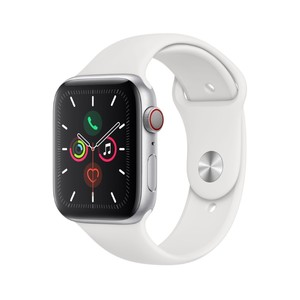 Apple Watch Series 5 GPS + Cellular 44mm Silver Aluminium Case with White Sport Band S/M & M/L