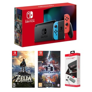 Nintendo Switch Neon Joy-Con + Zelda Breath of the Wild + Bounty Battle + Snakebite Starter Kit [Bundle]