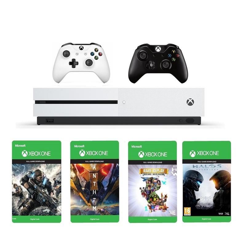 Xbox One S 1TB White + Anthem DLC + Gears Of War 4 DLC + Halo 5 DLC + Rare  Replay DLC + Black & White Wireless Controller