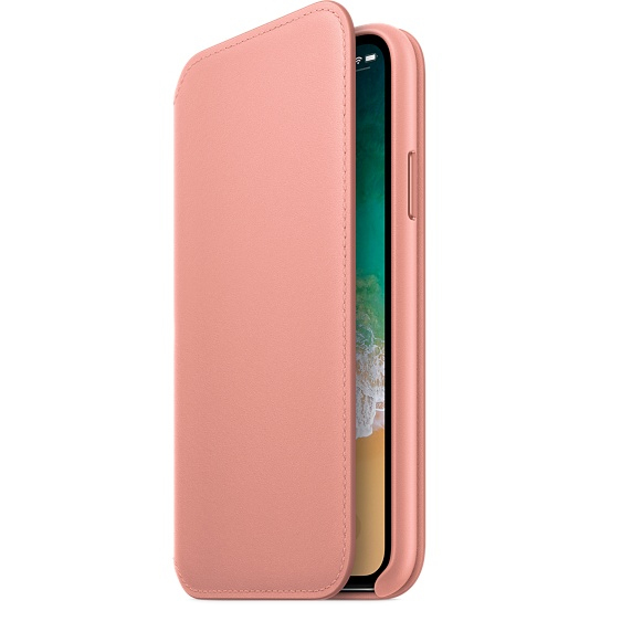 sale retailer b736f 13d38 Apple Leather Folio Soft Pink For iPhone X
