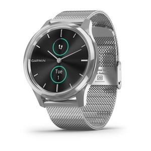 Garmin vivomove Luxe 42mm Silver Stainless Steel Case with Silver Milanese Band Smart Watch