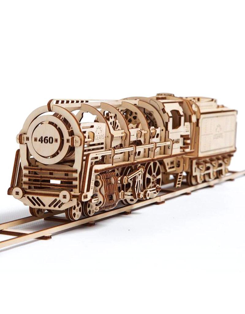 U-Gears Steam Locomotive With Tender Wooden Mechanical Model